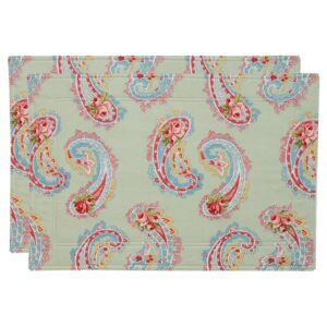Sweet Pea Linens - Mint Green Paisley Rectangle Placemats - Set of Two (SKU#: RS2-1002-Q7) - Product Image