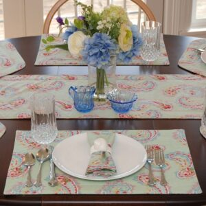 Sweet Pea Linens - Mint Green Paisley Rectangle Placemats - Set of Two (SKU#: RS2-1002-Q7) - Table Setting