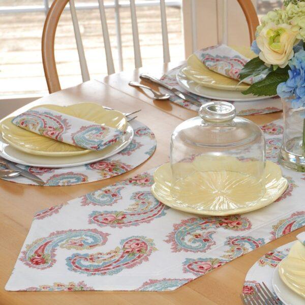 Sweet Pea Linens - White Paisley 54 inch Table Runner (SKU#: R-1020-Q8) - Table Setting