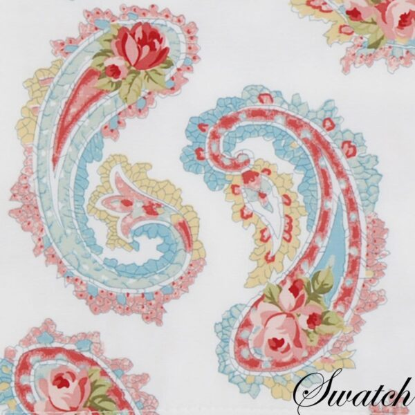 Sweet Pea Linens - White Paisley 54 inch Table Runner (SKU#: R-1020-Q8) - Swatch