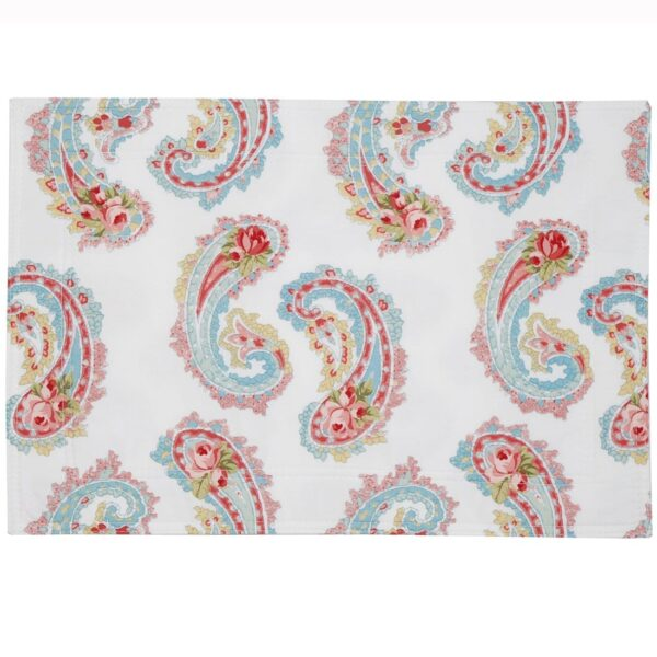 Sweet Pea Linens - White Paisley Rectangle Placemats - Set of Two (SKU#: RS2-1002-Q8) - Product Image