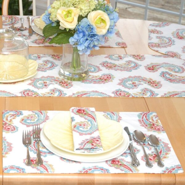 Sweet Pea Linens - White Paisley Rectangle Placemats - Set of Two (SKU#: RS2-1002-Q8) - Table Setting