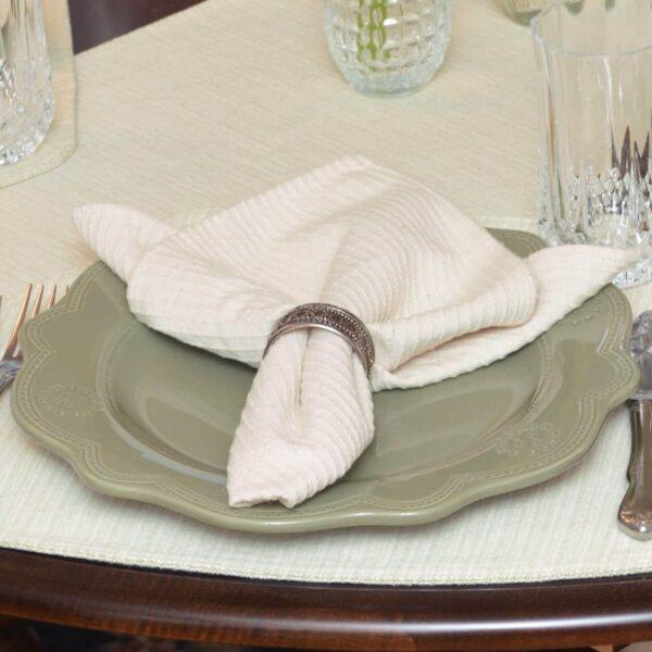 Sweet Pea Linens - Natural Dobby Striped Cloth Napkin (SKU#: R-1010-R10) - Table Setting
