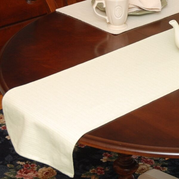 Sweet Pea Linens - Green & Tan Canvas Striped 70 Inch Table Runner (SKU#: R-1023-R4) - Table Setting