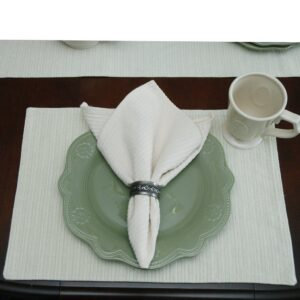 Sweet Pea Linens - Green & Tan Canvas Striped Rectangle Placemats - Set of Two (SKU#: RS2-1002-R4) - Table Setting