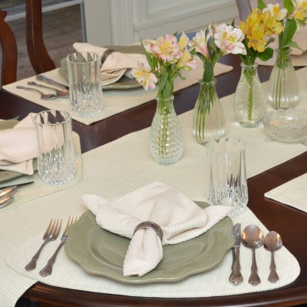 Sweet Pea Linens - Green & Tan Canvas Striped Wedge-Shaped Placemats - Set of Two (SKU#: RS2-1006-R4) - Table Setting