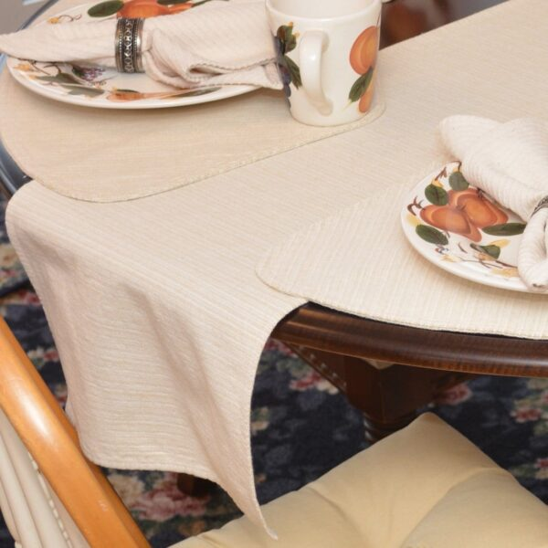 Sweet Pea Linens - Golden Yellow & Tan Canvas Striped 70 Inch Table Runner (SKU#: R-1023-R5) - Table Setting