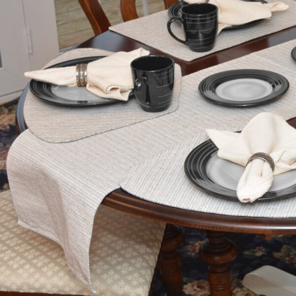 Sweet Pea Linens - Black & Tan Canvas Striped 70 Inch Table Runner (SKU#: R-1023-R6) - Table Setting
