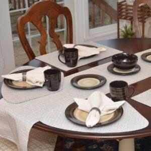 Sweet Pea Linens - Dark Brown & Tan Canvas Striped 70 Inch Table Runner (SKU#: R-1023-R7) - Table Setting