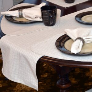 Sweet Pea Linens - Taupe & Tan Canvas Striped 70 Inch Table Runner (SKU#: R-1023-R9) - Table Setting