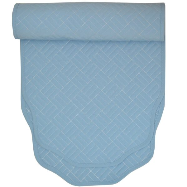 Sweet Pea Linens - Cornflower Blue Quilted 60 inch Table Runner (SKU#: R-1021-T2) - Product Image