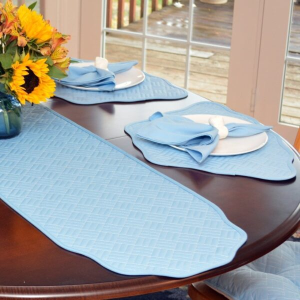 Sweet Pea Linens - Cornflower Blue Quilted 60 inch Table Runner (SKU#: R-1021-T2) - Table Setting