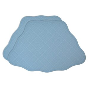 Sweet Pea Linens - Cornflower Blue Quilted Scalloped Wedge-Shaped Placemats - Set of Two (SKU#: RS2-1005-T2) - Product Image