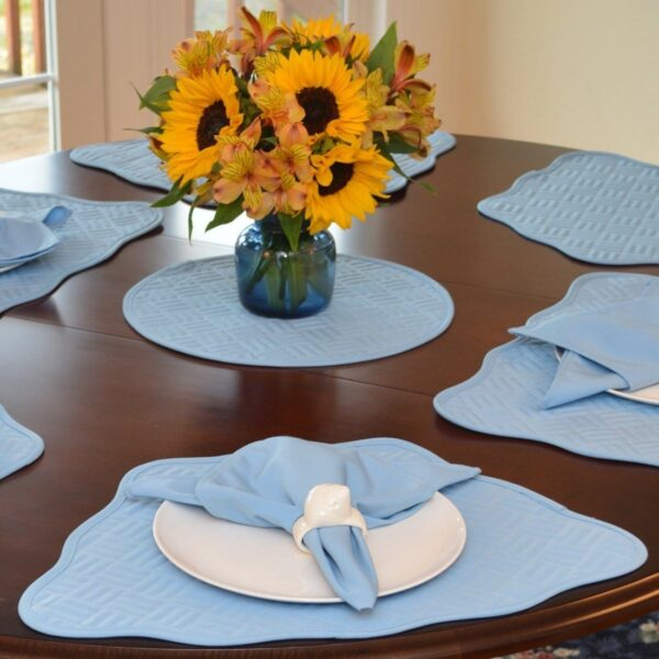 Sweet Pea Linens - Cornflower Blue Quilted Scalloped Wedge-Shaped Placemats - Set of Two (SKU#: RS2-1005-T2) - Table Setting