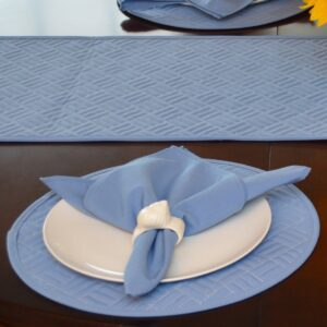 Sweet Pea Linens - Periwinkle Blue Quilted Charger-Center Round Placemat (SKU#: R-1015-T3) - Table Setting
