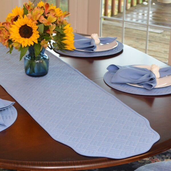 Sweet Pea Linens - Periwinkle Blue Quilted 60 inch Table Runner (SKU#: R-1021-T3) - Table Setting
