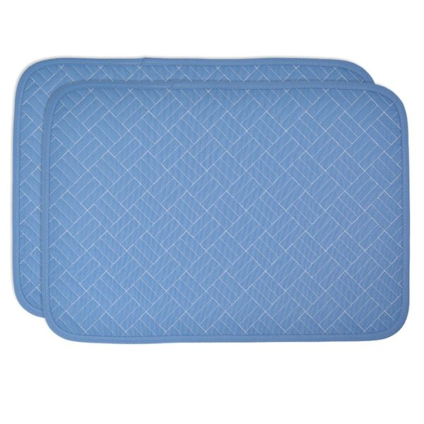 Sweet Pea Linens - Periwinkle Blue Quilted Rectangle Placemats - Set of Two (SKU#: RS2-1001-T3) - Product Image