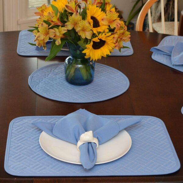 Sweet Pea Linens - Periwinkle Blue Quilted Rectangle Placemats - Set of Two (SKU#: RS2-1001-T3) - Table Setting
