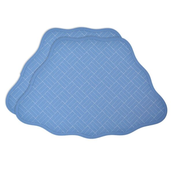 Sweet Pea Linens - Periwinkle Blue Quilted Scalloped Wedge-Shaped Placemats - Set of Two (SKU#: RS2-1005-T3) - Product Image