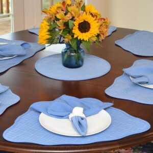 Sweet Pea Linens - Periwinkle Blue Quilted Scalloped Wedge-Shaped Placemats - Set of Two (SKU#: RS2-1005-T3) - Table Setting