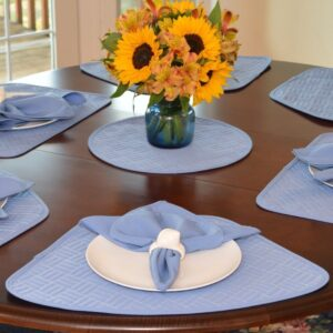 Sweet Pea Linens - Periwinkle Blue Quilted Wedge-Shaped Placemats - Set of Two (SKU#: RS2-1006-T3) - Table Setting