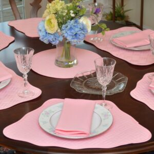 Sweet Pea Linens - Pink Quilted Scalloped Wedge-Shaped Placemats - Set of Two (SKU#: RS2-1005-T4) - Table Setting