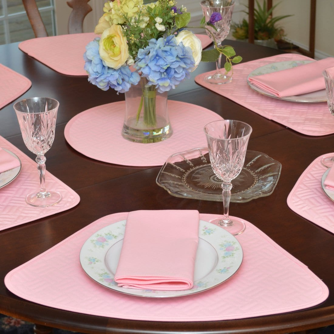 Sweet Pea Linens - Pink Quilted Wedge-Shaped Placemats - Set of Two (SKU#: RS2-1006-T4) - Table Setting