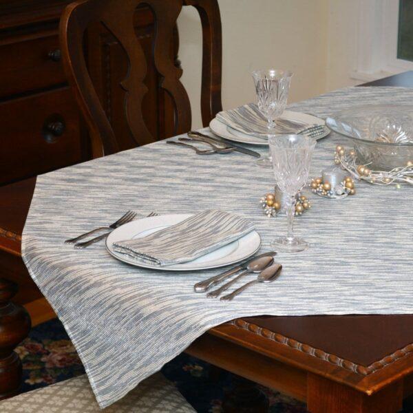 Sweet Pea Linens - Silver & Cream Metallic Striped 54 inch Square Table Cloth (SKU#: R-1008-U10) - Table Setting