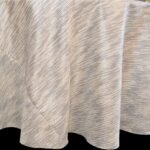 Sweet Pea Linens - Silver & Cream Metallic Striped 90 inch Round Table Cloth (SKU#: R-1009-U10) - Product Image