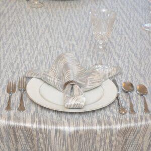 Sweet Pea Linens - Silver & Cream Metallic Striped 90 inch Round Table Cloth (SKU#: R-1009-U10) - Table Setting
