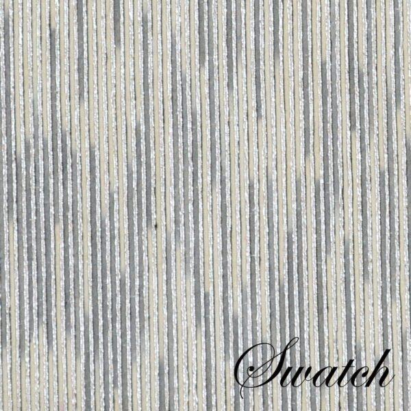 Sweet Pea Linens - Silver & Cream Metallic Striped 90 inch Round Table Cloth (SKU#: R-1009-U10) - Swatch