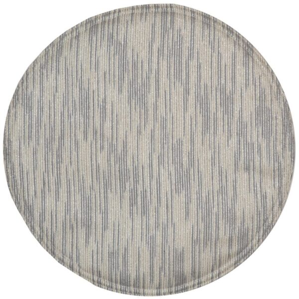 Sweet Pea Linens - Silver & Cream Metallic Striped Charger-Center Round Placemat (SKU#: R-1015-U10) - Product Image