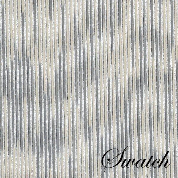 Sweet Pea Linens - Silver & Cream Metallic Striped Charger-Center Round Placemat (SKU#: R-1015-U10) - Swatch
