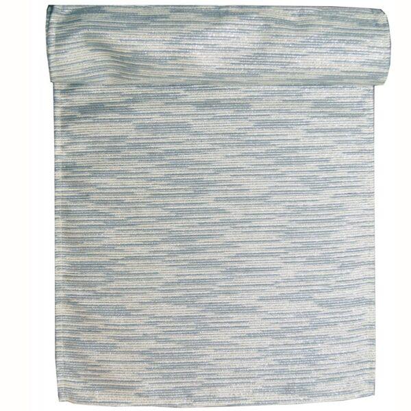 Sweet Pea Linens - Silver & Cream Metallic Striped 72 inch Table Runner (SKU#: R-1024-U10) - Product Image