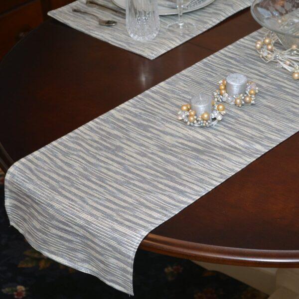 Sweet Pea Linens - Silver & Cream Metallic Striped 72 inch Table Runner (SKU#: R-1024-U10) - Table Setting