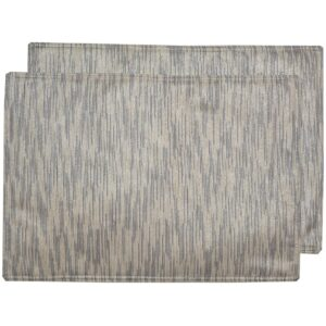 Sweet Pea Linens - Silver & Cream Metallic Striped Rectangle Placemats - Set of Two (SKU#: RS2-1002-U10) - Product Image