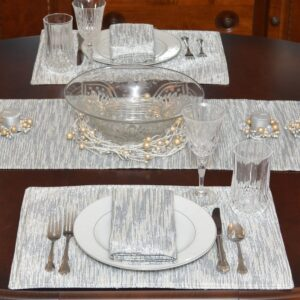 Sweet Pea Linens - Silver & Cream Metallic Striped Rectangle Placemats - Set of Two (SKU#: RS2-1002-U10) - Table Setting