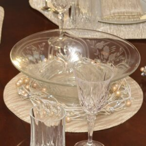 Sweet Pea Linens - Gold & Cream Metallic Striped Charger-Center Round Placemat (SKU#: R-1015-U11) - Table Setting