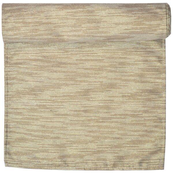 Sweet Pea Linens - Gold & Cream Metallic Striped 108 Inch Table Runner (SKU#: R-1022-U11) - Product Image
