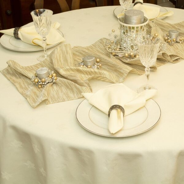 Sweet Pea Linens - Gold & Cream Metallic Striped 108 Inch Table Runner (SKU#: R-1022-U11) - Alternate Table Setting