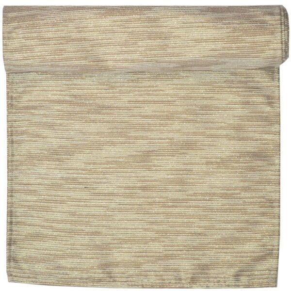 Sweet Pea Linens - Gold & Cream Metallic Striped 72 inch Table Runner (SKU#: R-1024-U11) - Product Image