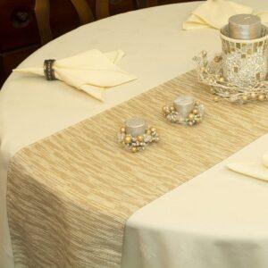 Sweet Pea Linens - Gold & Cream Metallic Striped 72 inch Table Runner (SKU#: R-1024-U11) - Table Setting