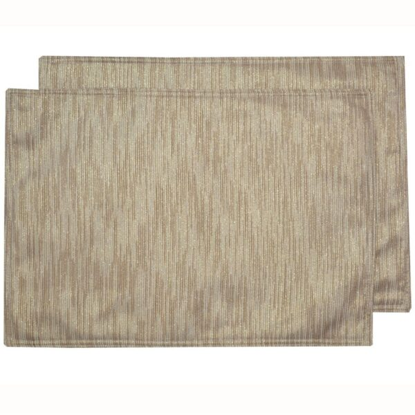Sweet Pea Linens - Gold & Cream Metallic Striped Rectangle Placemats - Set of Two (SKU#: RS2-1002-U11) - Product Image