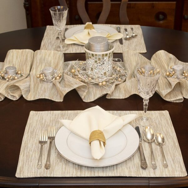 Sweet Pea Linens - Gold & Cream Metallic Striped Rectangle Placemats - Set of Two (SKU#: RS2-1002-U11) - Table Setting