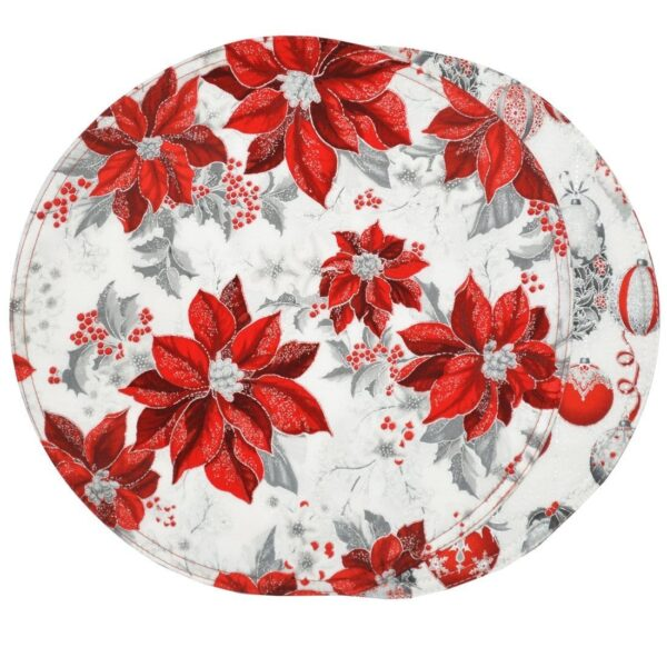 Sweet Pea Linens - Red, Silver Poinsettia & Ornaments Holiday Print Charger-Center Round Placemat (SKU#: R-1015-U12) - Product Image