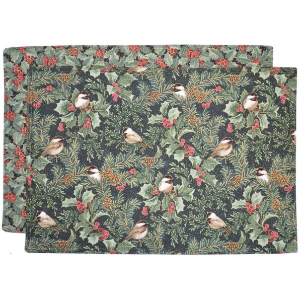 Sweet Pea Linens - Green Holly & Chickadees Holiday Print Rectangle Placemats - Set of Two (SKU#: RS2-1002-U13) - Product Image