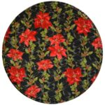 Sweet Pea Linens - Poinsettia Garland Holiday Print Charger-Center Round Placemat (SKU#: R-1015-U14) - Product Image