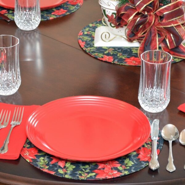 Sweet Pea Linens - Poinsettia Garland Holiday Print Charger-Center Round Placemat (SKU#: R-1015-U14) - Table Setting
