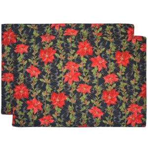Sweet Pea Linens - Poinsettia Garland Holiday Print Rectangle Placemats - Set of Two (SKU#: RS2-1002-U14) - Product Image