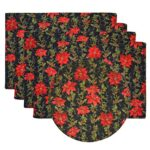 Sweet Pea Linens - Poinsettia Garland Holiday Print Rectangle Placemats - Set of Four plus Center Round-Charger (SKU#: RS5-1002-U14) - Product Image